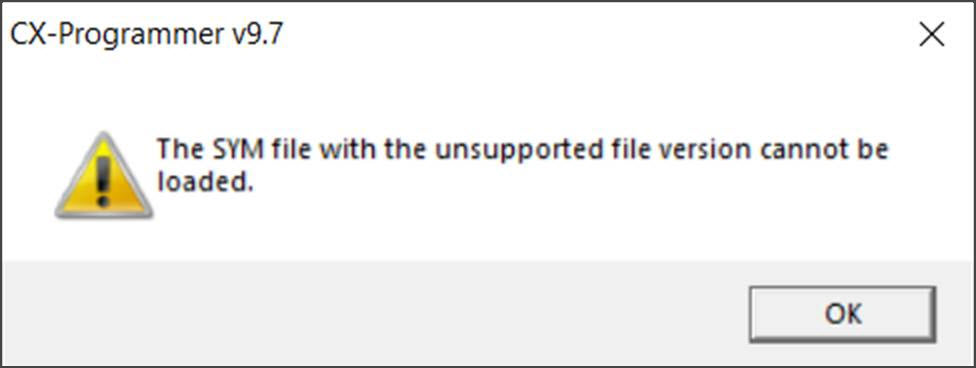 The SYM file with the unsupported file version canot be loaded. (El archivo SUM con una versión de archivo no compatible no pueden cagarse)